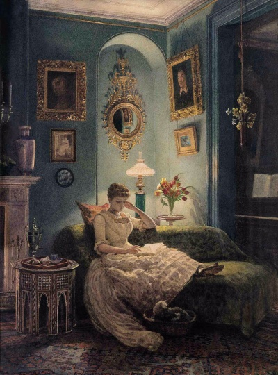 "Sir Edward John Poynter - ""An Evening at Home"""